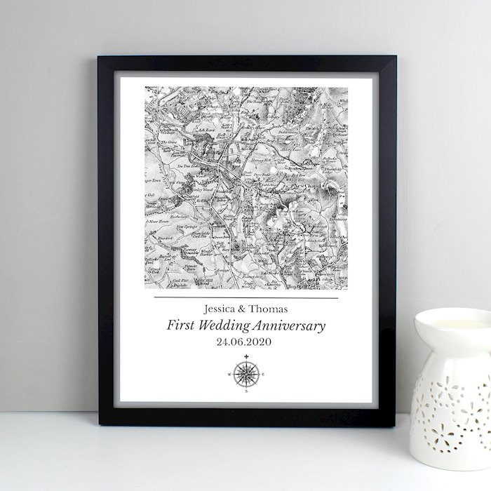 1805 - 1874 Old Series Map Compass Black Framed Poster Print