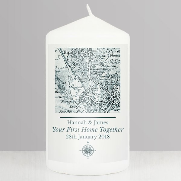 1805 - 1874 Old Series Map Compass Pillar Candle