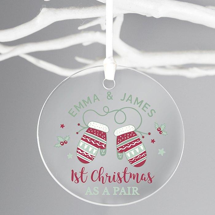 Personalised Couples Christmas Round Bauble Acrylic Decoration