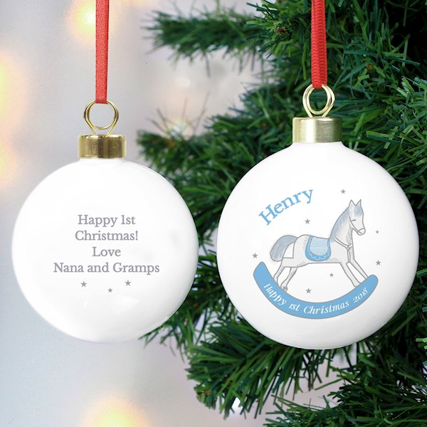 1st Christmas Blue Rocking Horse Bauble