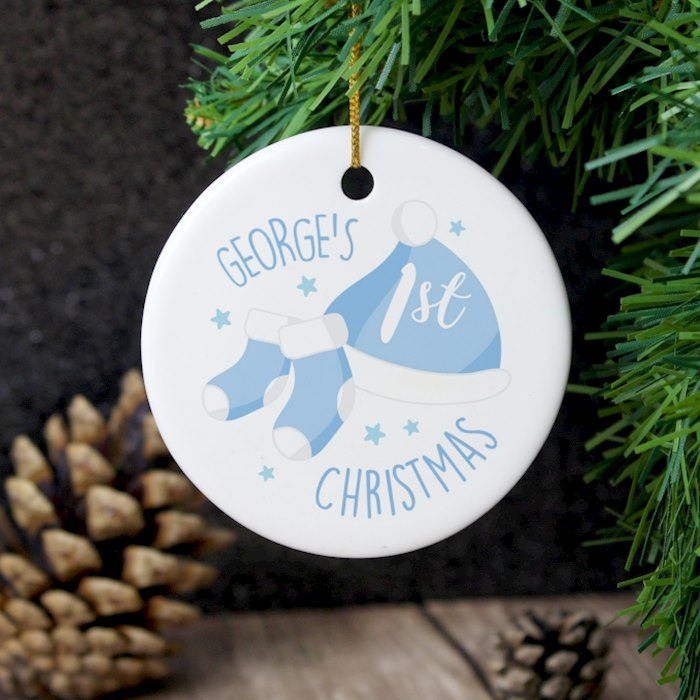 1st Christmas Blue Round Ceramic Decoration