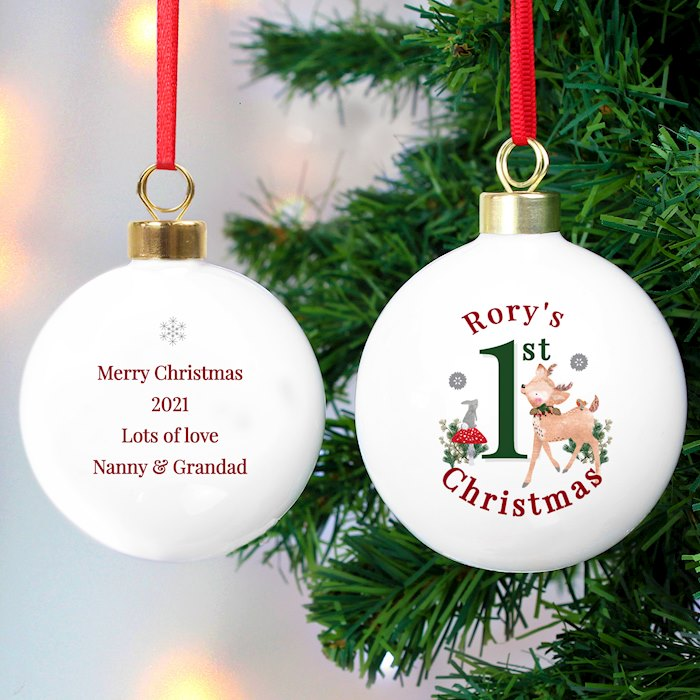 1st Christmas Festive Fawn Bauble