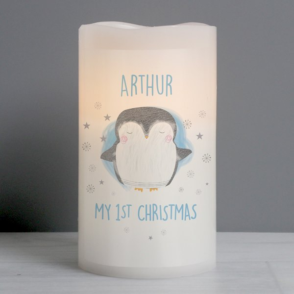 1st Christmas Penguin LED Candle
