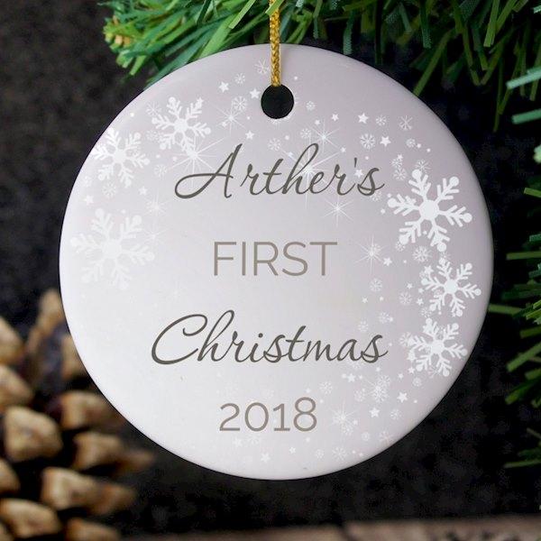 1st Christmas Round Ceramic Decoration