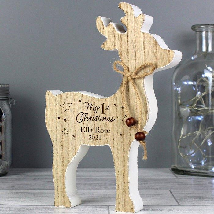 '1st Christmas' Rustic Wooden Reindeer Decoration