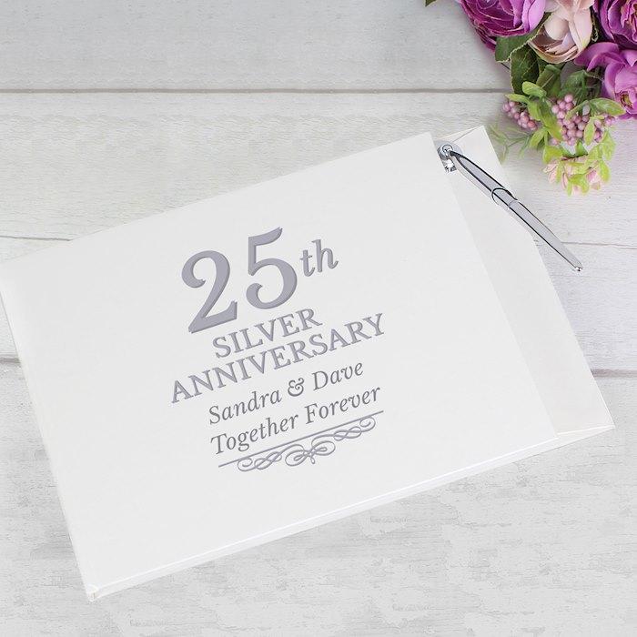 25th Silver Anniversary Hardback Guest Book & Pen
