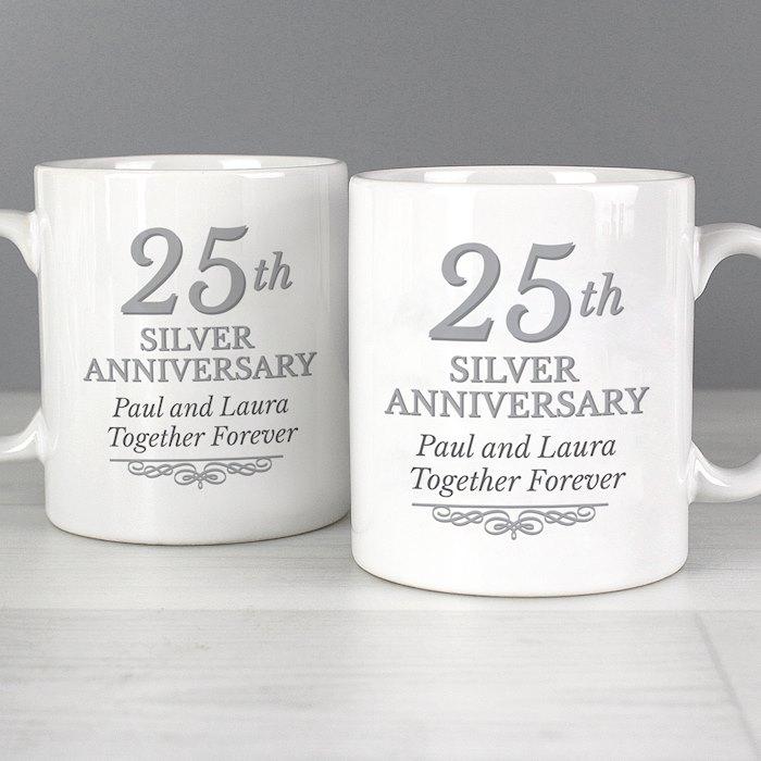 25th Silver Anniversary Mug Set