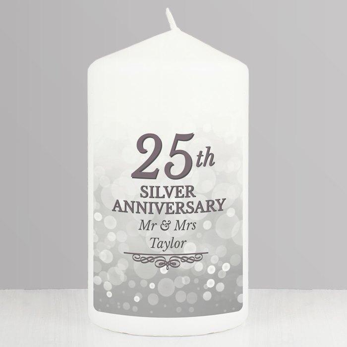 25th Silver Anniversary Pillar Candle