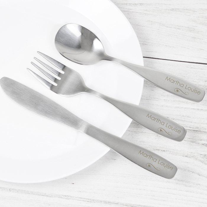 3 Piece Swirls & Hearts Cutlery Set