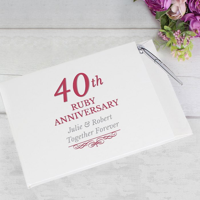 40th Ruby Anniversary Hardback Guest Book & Pen