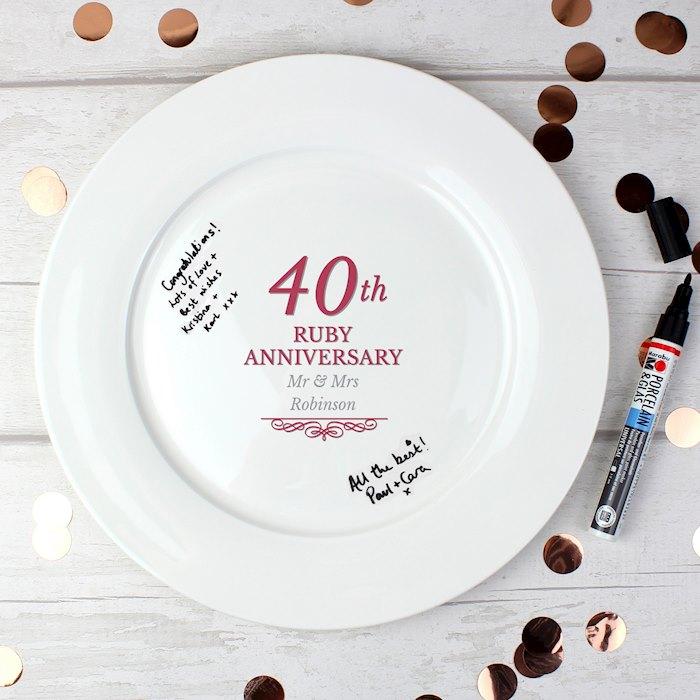 40th Ruby Anniversary Plate