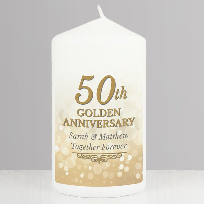 50th Golden Anniversary Pillar Candle