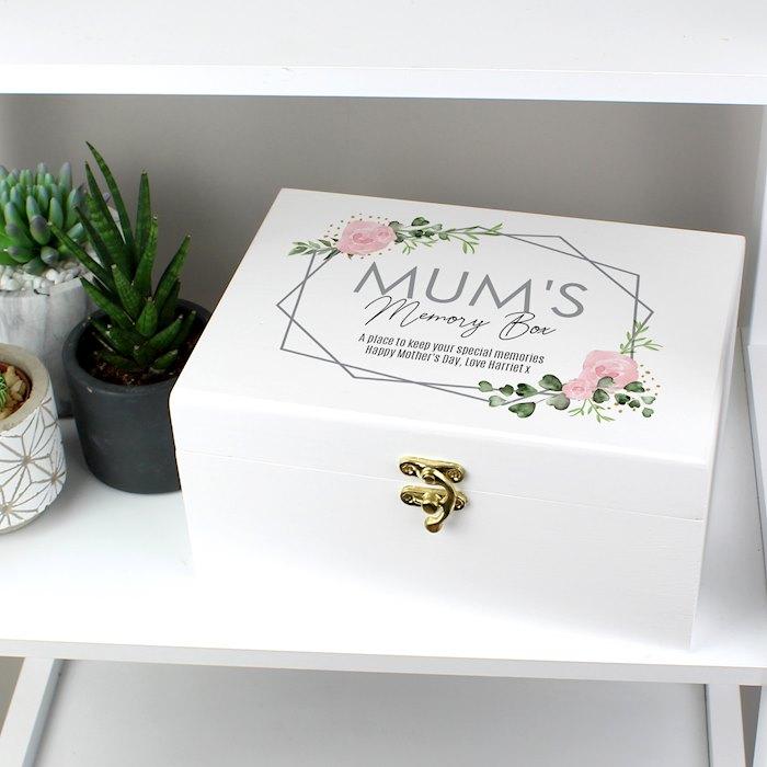 Abstract Rose White Wooden Keepsake Box