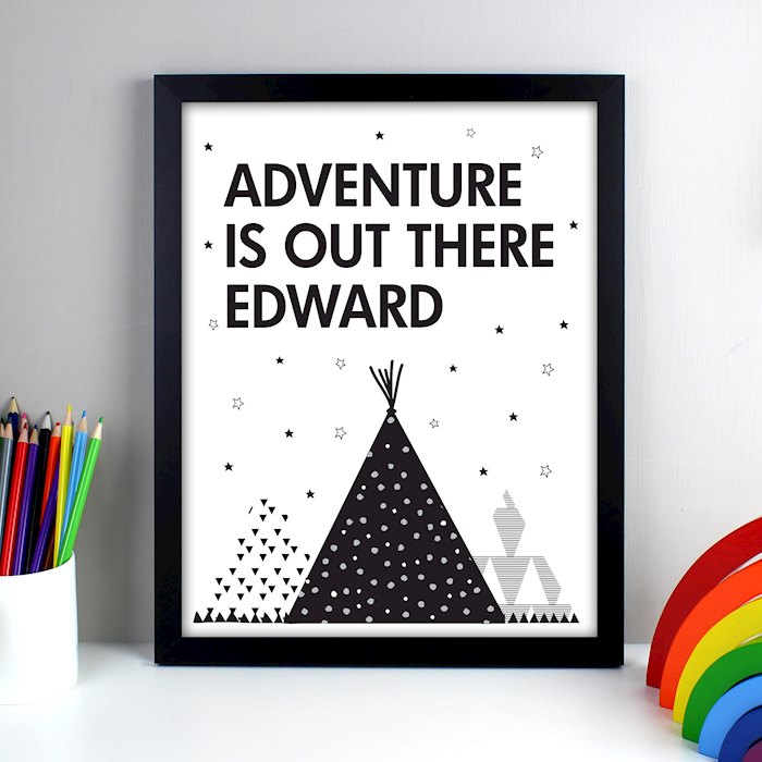 Adventure Is Out There Black Framed Print