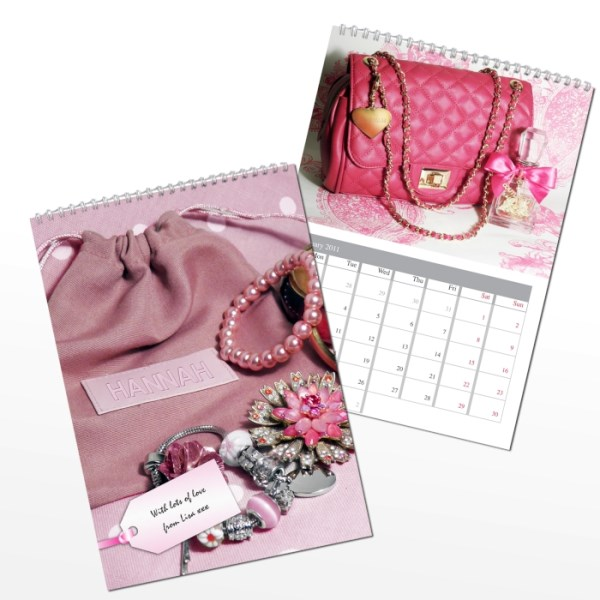 Personalised All Things Pink A4 Wall Calendar