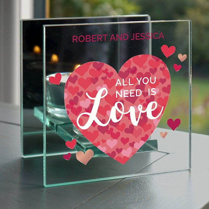 'All You Need is Love' Confetti Hearts Glass Tea Light Candle Holder