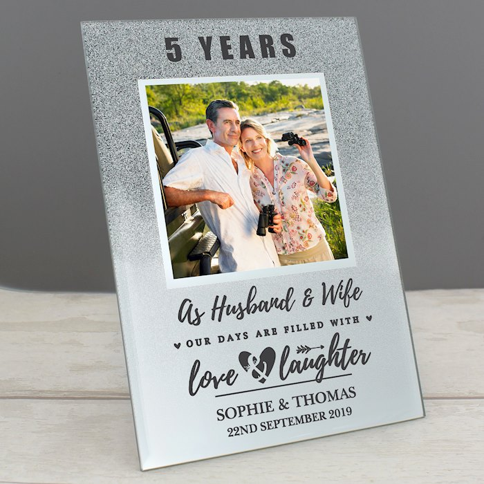 Anniversary 4x4 Glitter Glass Photo Frame