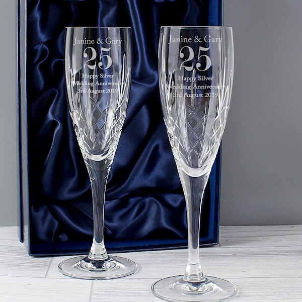 Anniversary Pair of Crystal Flutes
