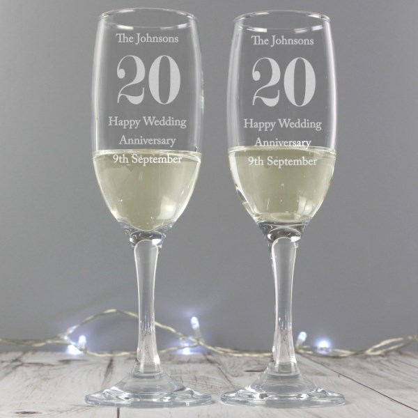 Anniversary Pair of Flutes with Gift Box