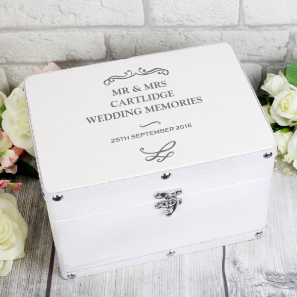 Antique Scroll White Leatherette Keepsake Box