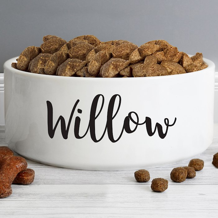 Any Name 16cm Large White Pet Bowl