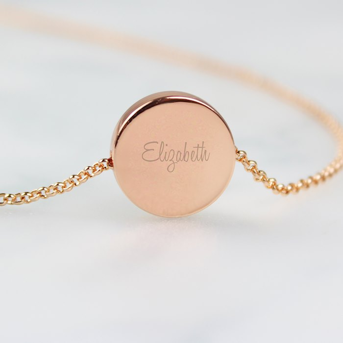 Any Name Rose Gold Tone Disc Necklace