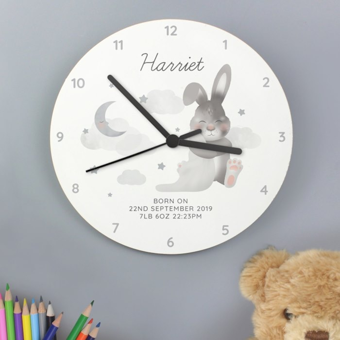 Baby Bunny White Wooden Clock