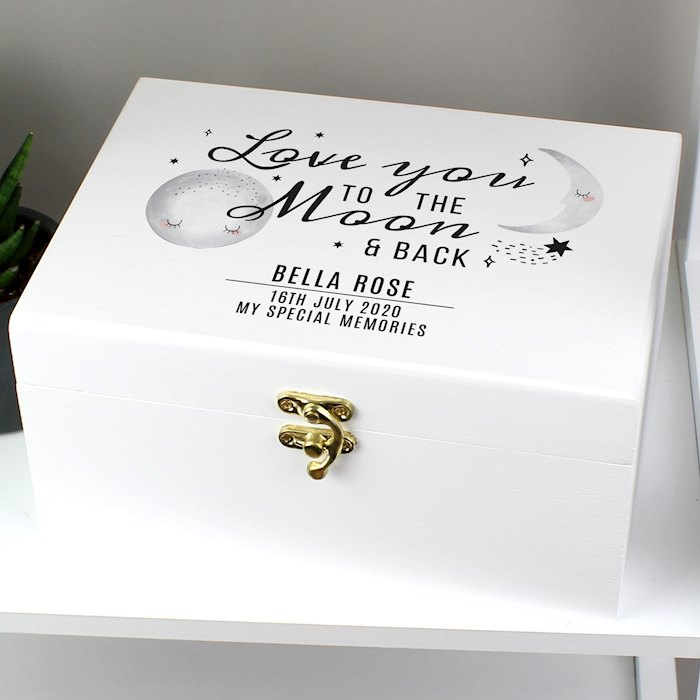 Baby To The Moon and Back White Wooden Keepsake Box