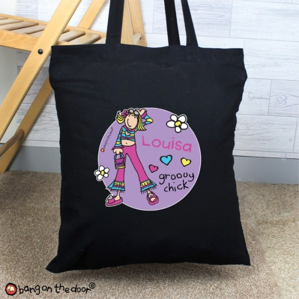 Bang on the Door Groovy Chick Black Cotton Bag
