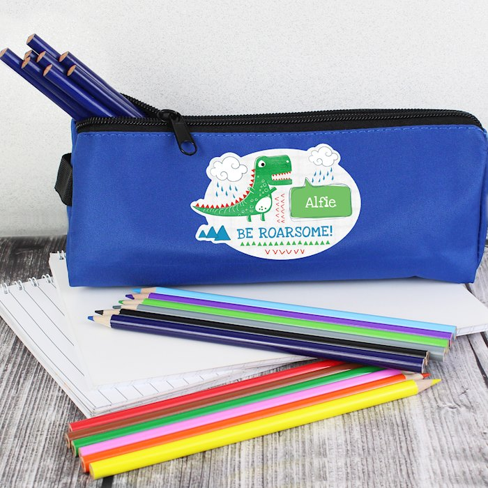 'Be Roarsome' Dinosaur Blue Pencil Case
