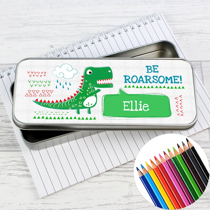 'Be Roarsome' Dinosaur Pencil Tin with Pencil Crayons