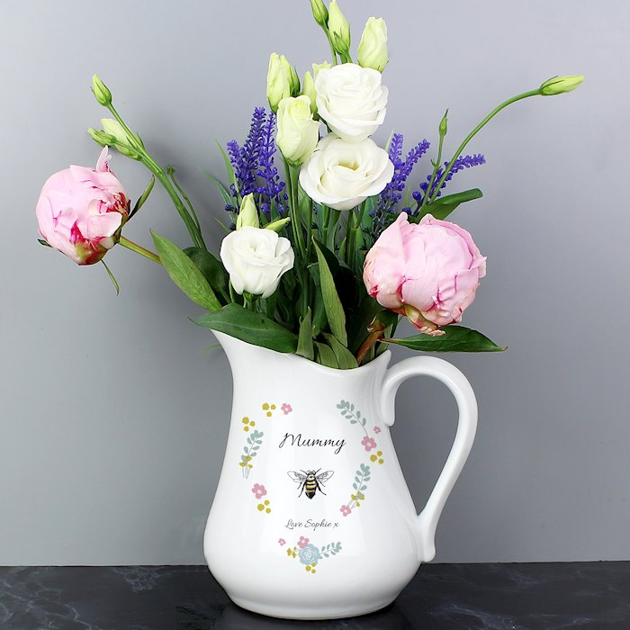 Bee Happy Ceramic Flower Jug