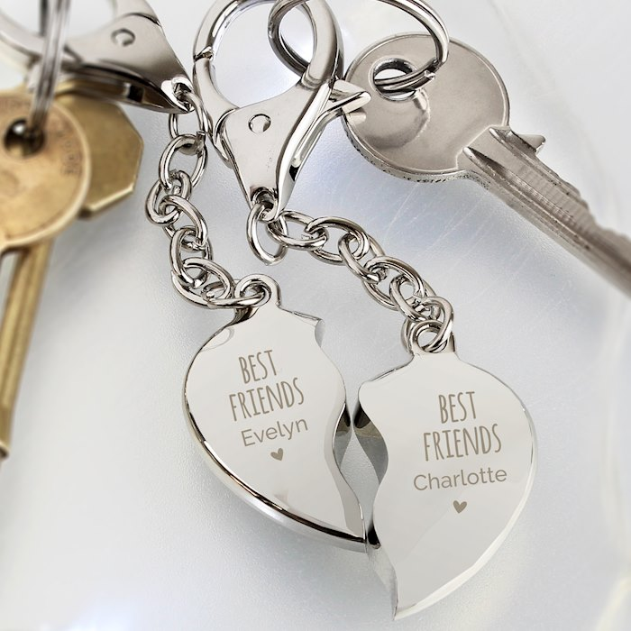 Best Friends Two Hearts Keyring