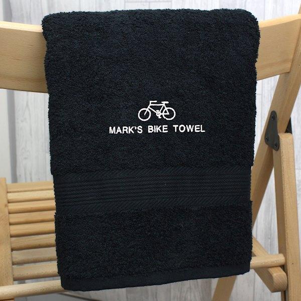 Bicycle Black Hand Towel