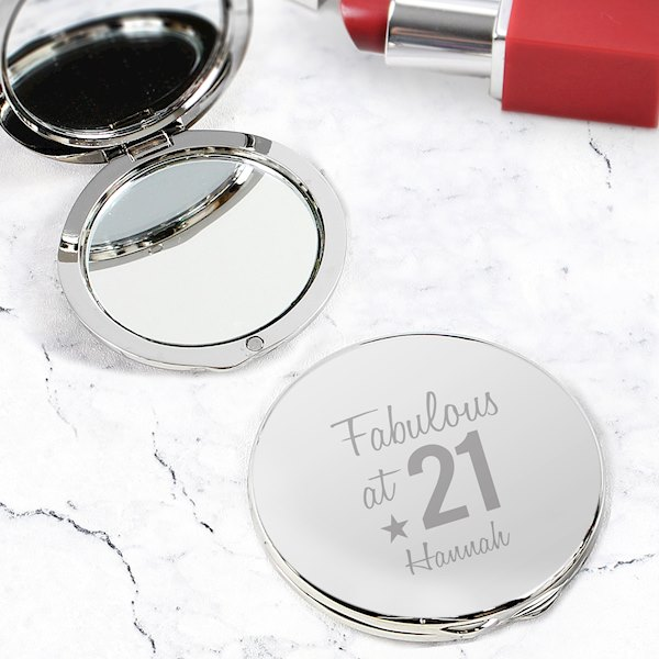 Personalised Fabulous Birthday Big Age Compact Mirror