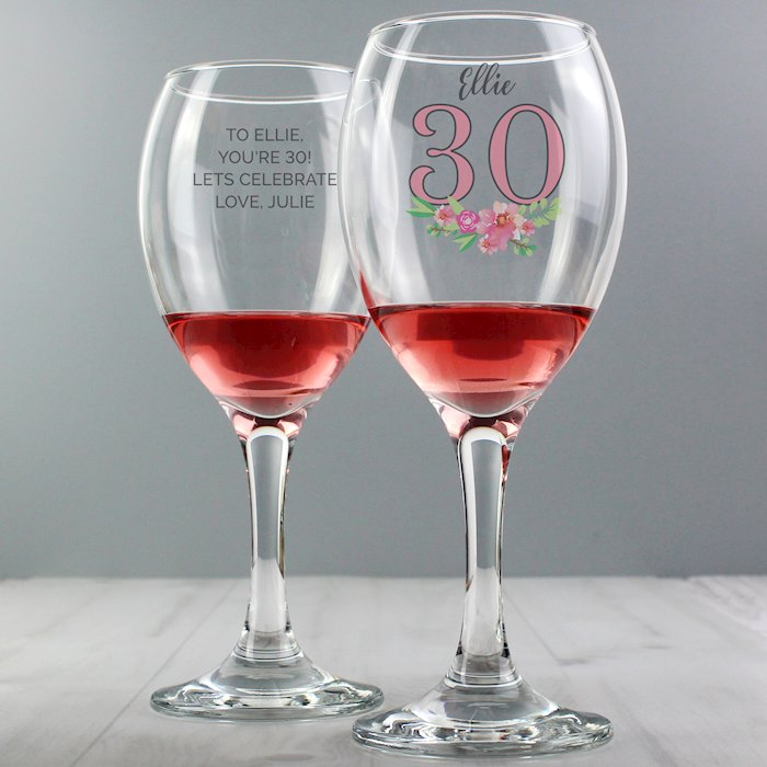 Birthday Floral Wine Glass
