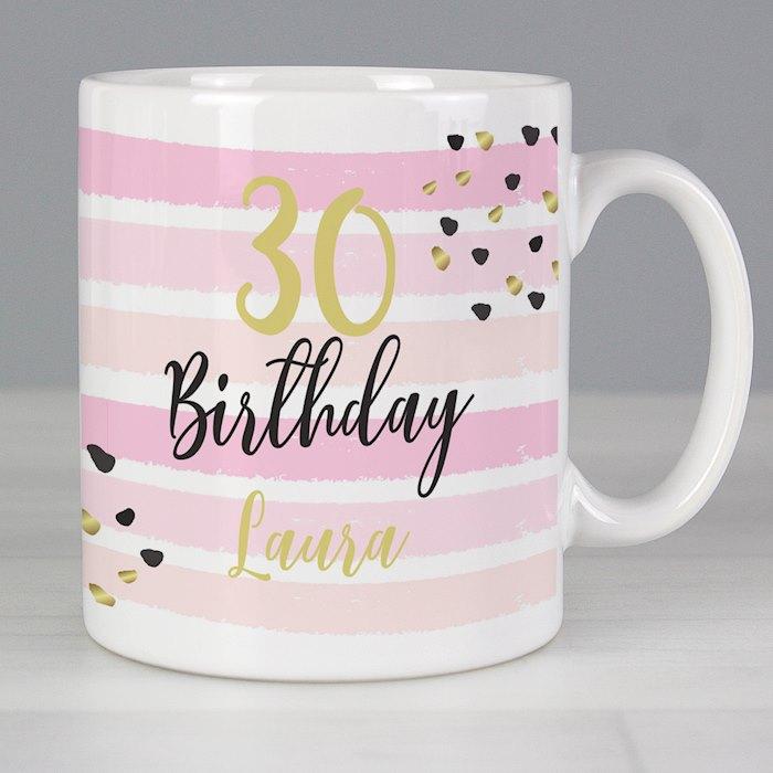 Birthday Gold and Pink Stripe Mug