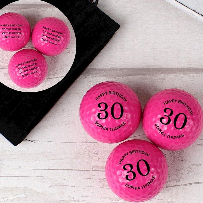 Birthday Pack of Three Pink Golf Balls