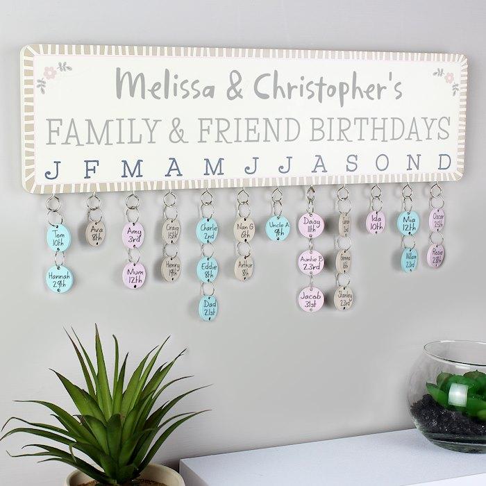 Birthday Planner Plaque with Customisable Discs