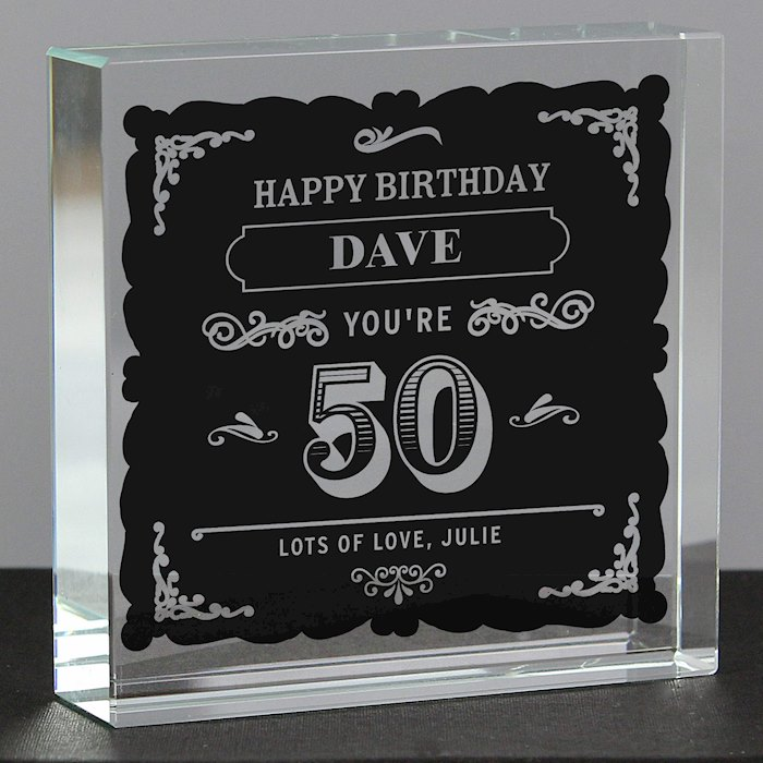 Birthday Vintage Typography Large Crystal Token