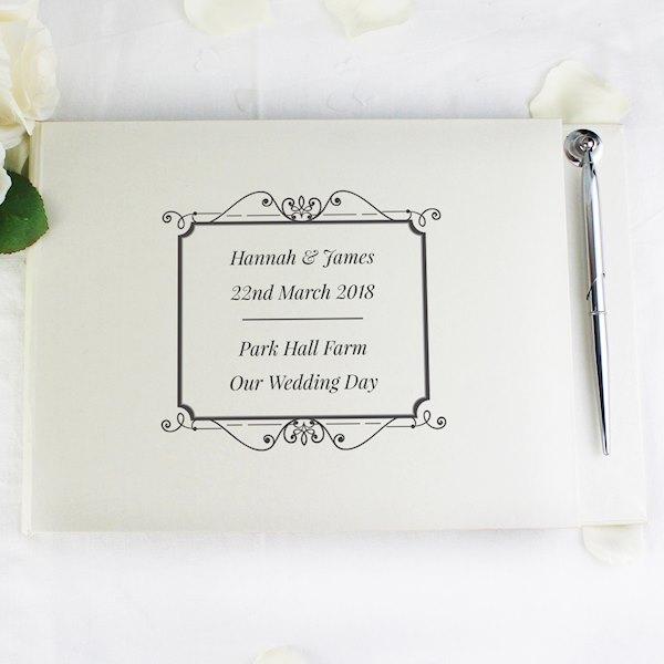 Personalised Black Hardback Guest Book & Pen
