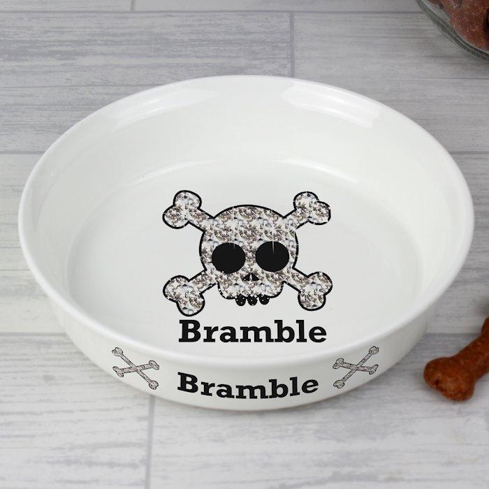 Personalised Bling Skull Dog Bowl