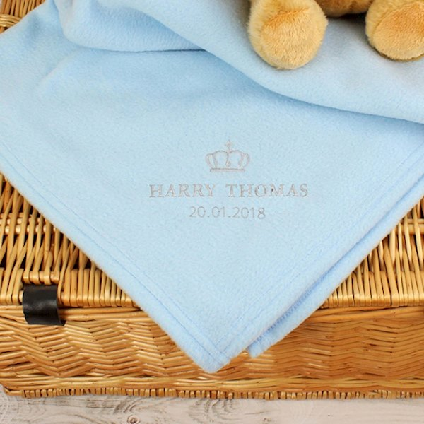 Blue Crown Baby Blanket
