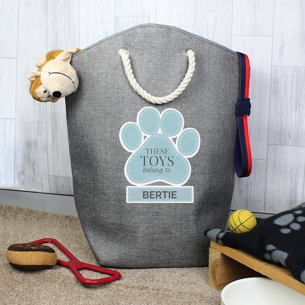 Blue Paw Print Storage Bag