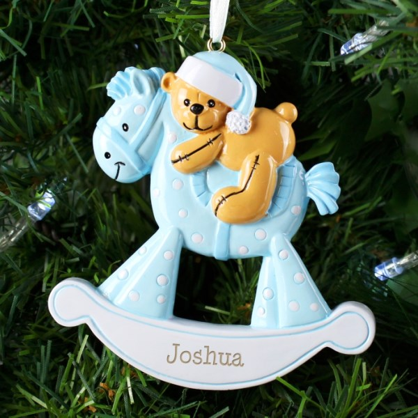 Blue Rocking Horse Resin Decoration