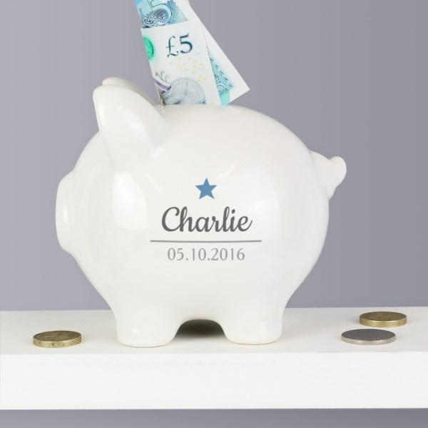 Blue Star Motif Piggy Bank