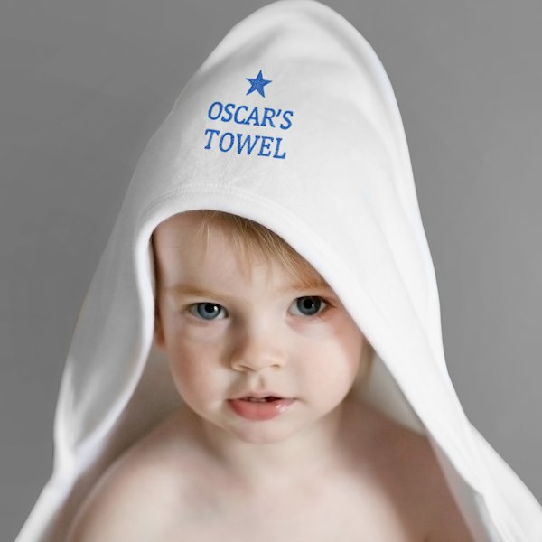 Blue Star White Hooded Baby Towel