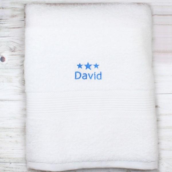 Blue Stars White Bath Towel