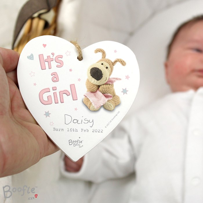 Boofle It's a Girl Wooden Heart Decoration