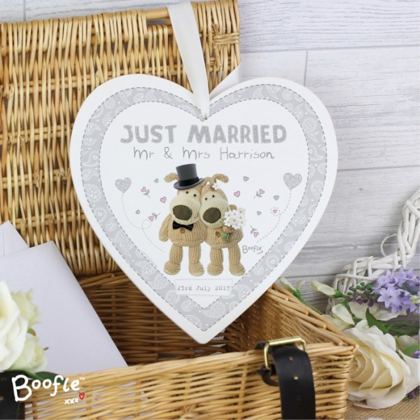 Boofle Wedding 22cm Large Wooden Heart Decoration